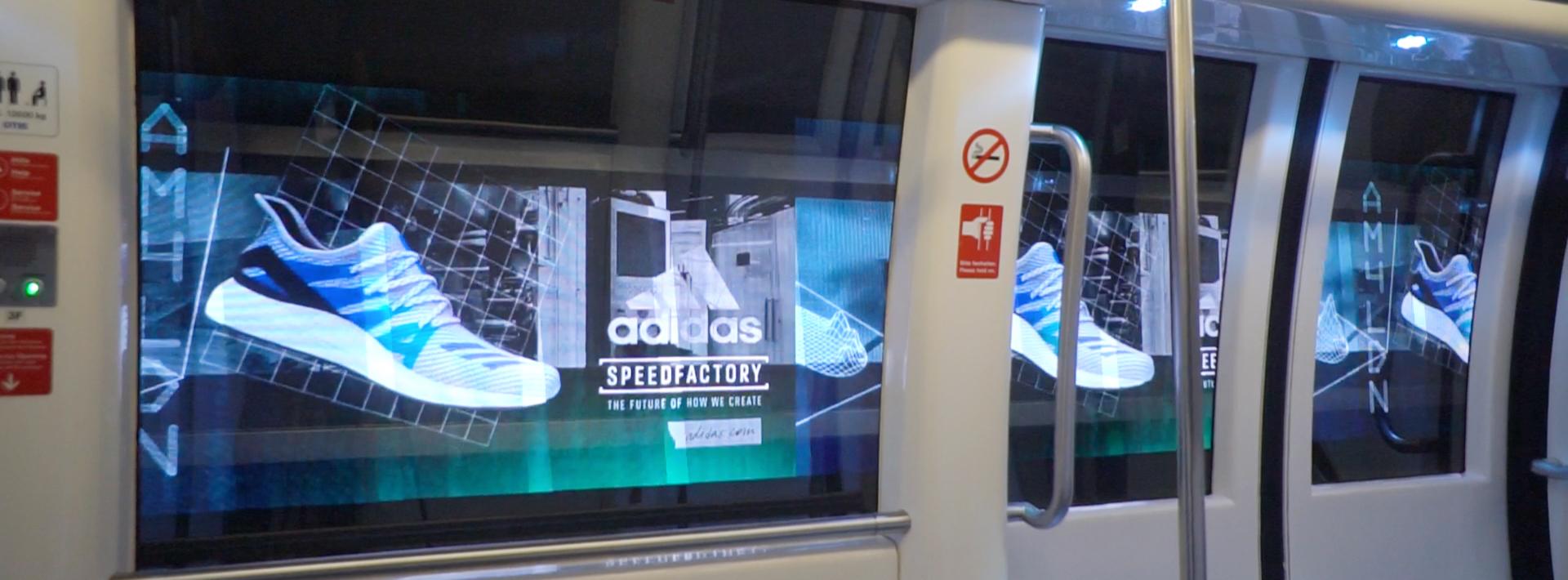 Digitale tunnelreclame in Rotterdamse metro